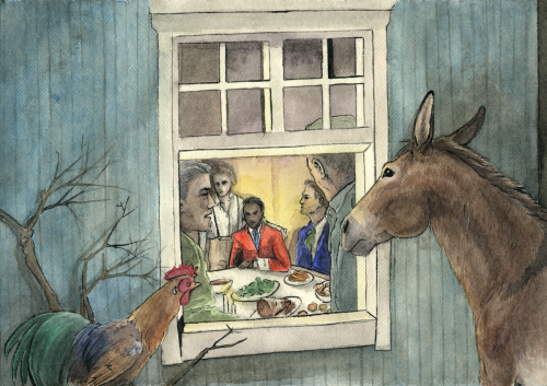 """So they made their way to the place where the light was, and soon saw it shine brighter and grow larger until they came to a well-lit house, with robbers hiding inside. The donkey, as he was the biggest, went to the window and looked in. """"What do you see, donkey?"""" asked the rooster.  """"What do I see?"""" answered the donkey. """"I see a donkey covered with good things to eat and drink, and robbers sitting at it enjoying themselves.""""  """"That would be the sort of thing for us,"""" said the rooster. """"Yes, yes. Ah, how I wish we were inside!"""" said the donkey."""